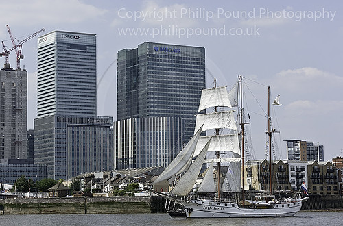Tall Ship Loth Lorien at Canary Wharf during the Avenue of Sail on the River Thames