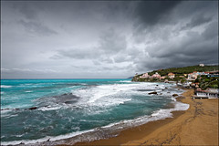 stormy weather (heavenuphere) Tags: travel sea italy storm beach weather clouds 1 coast mediterranean italia waves wave stormy tuscany coastline watersedge toscana 1022mm gi traveldestinations omnious rosignanomarittimo
