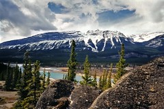 athabasca river valley 1 (Mr.  Mark) Tags: mountain canada film nature river landscape rockies photo scenery jasper stock glacier alberta valley athabasca markboucher