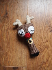 Sleepy Rudolph the Red Nose Reindeer Rattle (ham_and_eggs) Tags: baby animal reindeer toy stuffed handmade crochet adorable yarn softie rudolph amigurumi rattle