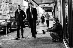 Young suits (Joris_Louwes) Tags: canada contrast work britishcolumbia homeless victoria business begging