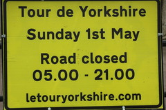 Road Closed (Steve Dawson.) Tags: uk england sky signs buses race canon eos is team 1st yorkshire may bikes hills cycle tdy scarborough usm ef28135mm seafront kom uci sprints 2016 orica f3556 50d ef28135mmf3556isusm katusha canoneos50d tourdeyorkshire