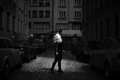 City of Shadows (milanvopalensky) Tags: city light shadow portrait woman sun girl car female canon 50mm model alone shadows czech prague mark surrealism 14 surreal blond ii blonde 5d concept conceptual