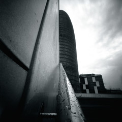 Play Hide and Seek (Dikal) Tags: barcelona blackandwhite bw tower 120 stairs contrast skyscraper mediumformat square spain noiretblanc cloudy path bcn nb pinhole 120film homemade squareformat mf rodinal citylandscape espagne ilford fp4 zero2000 zeroimage agbar 25asa ilfordfp4 2016 stnop zeroimage2000 dikal