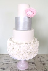 White Ruffle & Silver with Pale Pink Peony Flower (A Cherry On Top Scotland) Tags: wedding roses cake scotland petals fife weddingcake pearls sparkle piping vows topper shimmer ruffle burntisland tiered bestdayever cherryontop weddingcupcakes openingroses openroses rosecupcakes clairesara balbirniehousehotel buttercreamswirl palepinkpeony bespokeweddingcake silvertier vowswinner silverpaintedtier whitepetalruffle whitemilkglassstand pinkbirdcagewrappers