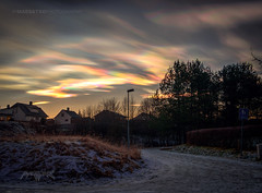 Askim, Norway 0216 - Polar Stratospheric Pearlescent Clouds (IP Maesstro) Tags: street winter light sunset snow ice norway clouds sunrise rainbow hdr pearlescent askim ipmaesstro