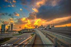 MacArthur Causeway I-395 HIghway Miami Florida Explosive Sunset (Captain Kimo) Tags: cars highway traffic florida miami transportation miamibeach i395 macarthurcauseway photomatixpro hdrphotography miamidadecounty hdrsoftware captainkimo