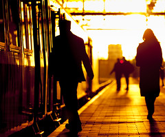 Brief Encounter (Rob Kints (Robk1964)) Tags: sunset silhouette zonsondergang thenetherlands silhouettes thehague denhaaghs hollandsspoor