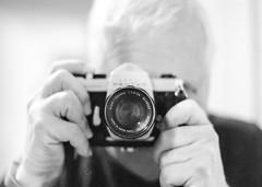 Asahi Pentax Self Portrait (Martin Smith - Having the Time of my Life) Tags: camera blackandwhite bw film monochrome blurry dof grain 35mmfilm m42 spotmatic ilford filmgrain asa400 shallowdepthoffield selfie asahipentax martinsmith reflectioninmirror supertakumar55mmf18 asahipentaxspotmatic manualfilmcamera ilfordxp2bw martinsmith