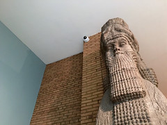Colossal Assyrian Statue 3 (Jeff William Davies) Tags: uk greatbritain england london statue unitedkingdom surveillance iraq cctv relief securitycamera britishmuseum colossal assyria assyrian nimrud 800bc colossalassyrianstatue