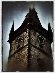 Prague Tower #4 (CJPolitzki) Tags: vintage flickr prague grunge iphone ipodtouch snapseed