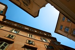 Alleys of Rome (Khaled Galal) Tags: blue windows sky italy abstract rome architecture buildings photography open perspective shutters unusual narrow khaled zigzag shut galal