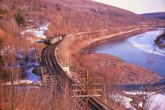 Erie Lackawanna SD45s, Basket, New York, 1969 (miningcamper) Tags: railroad train locomotive delawareriver erielackawanna fallenflags basketcreek emdsd45
