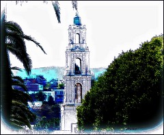 El Campnario de la Basilica de Dolores (Rob Goldstein-off until the middle of February) Tags: street light abstract color texture robert colors contrast digital photomanipulation photoshop matt san francisco flickr digitalart rob national mind expressionist coloring dolores mateo hive tone photocollage impressionist geographic techniques abstracted colorgrading photoprocess basilicatextures