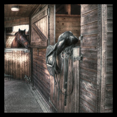 Saddle Up [Explored] (JennTurner) Tags: door wood horse color building canon kent sigma pro minster hdr saddle tack stables 500d 1850mm photomatix tonemapped efex