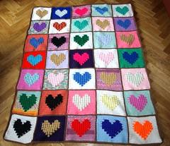 SCRAP HEARTS FOR NIADH (dochol) Tags: baby wool handmade crochet yarn blanket afghan bebe manta babyblanket croche scrapblanket