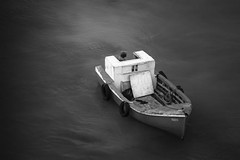 Small vessel in calm waters (fredvf) Tags: bw water port boat ship vessel calm tender