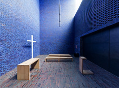 Meditation Chapel in Blue IV (yushimoto_02 [christian]) Tags: wood blue panorama church horizontal architecture germany bench munich mnchen sacral seat religion entrance kirche bank nopeople illuminated indoors brickwall zen sacred architektur munchen blau pew mystic muenchen mystisch kapelle absence chappel sitzbank sitz colorimage threeobjects sakral seatbench vertorama domenikus domenikuszentrum dominikuszentrum
