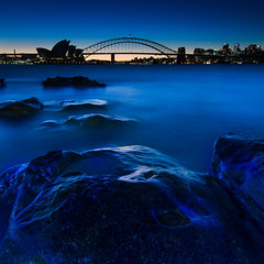 Blue Hour (Rodney Campbell) Tags: sunset water twilight operahouse harbourbridge cpl mrsmacquarieschair gnd09 gnd06