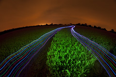 harvester of sorrow (A window to yesterday) Tags: sky field corn wheat harvest led crop lp leds lightpollution v24