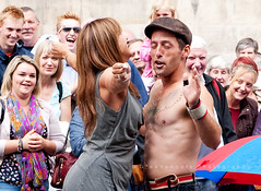 A day at the Edinburgh Fringe: You never know who you will bump into (Keith Gooderham) Tags: street copyright holiday mike festival photography scotland edinburgh royal keith fringe tourists carol performer mile gooderham entertainers smillie bonnici greenshoots dynami