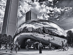 The Bean [Explore] (polysom01) Tags: sky blackandwhite bw chicago reflection landscape photo bean millenniumpark cloudgate