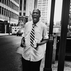 The Preacher (Joel Levin Photography) Tags: street portrait urban blackandwhite bw usa philadelphia square candid streetphotography photojournalism squareformat philly allrightsreserved iphone photojournalistic mobilephotography iphone4 bwartaward thedefiningtouch thedefiningtouchgroup iphoneography deftouch editedanduploadedoniphone ©joellevin definingtouchgroup