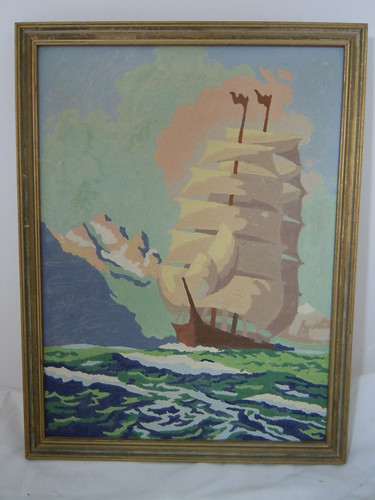 Vintage Paint by Number Clipper ship.