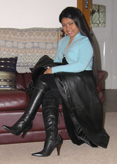 Leather Boots (johnerly03) Tags: leather fashion hair asian high long boots coat philippines heels filipina erly