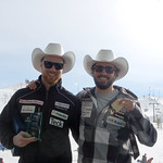 Tyler Werry and Ford Swette display some hardware in their new cowboy hats at the NORAM Finals in Calgary. Yahoo!!                     PHOTO CREDIT: Brian Werry