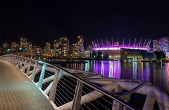 Canoe Bridge (Spencer Finlay) Tags: city nightphotography night vancouver lights olympicvillage bcplace beautifulbc canoebridge