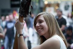 Bass (AxelN) Tags: portrait musician music girl smile germany deutschland women stuttgart bass portrt musik frau streetmusic mdchen lcheln badenwrttemberg musikerin strasenmusik