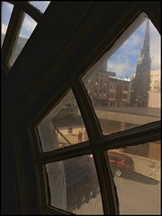 Gallery Window (Firery Broome) Tags: city blue windows sky rooftop church window architecture clouds buildings landscape cityscape cellphone bluesky streetscene newyorkstate 365 sidewalks utica phonephoto urbanlandscape apps iphone windowpanes ipad hotelutica historicplaces phoneography uticahotel iphoneography historicicons ipaddarkroom snapseed windowwednesdays iphone5s