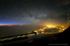 Algeria night sky - From the Flight Deck (gc232) Tags: from city light sunset sky sun night plane sunrise canon way airplane stars lights coast algeria fly flying timelapse view angle 10 live space altitude seat horizon flight wide over jet cities cockpit aerial astro fromabove iso deck astrophotography astronomy 10000 milky 000 f28 pilot height pilots iss 6d alger 14mm samyang iso10000 samyang14mm samyang14 golfcharlie232