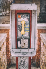 East Side Pay Phone (ScottNorrisPhoto) Tags: street urban brick metal cord cityscape phonebooth telephone citylife explore payphone chrome publicphone handset coinslot coinreturn cityliving collectcalls 365project scottnorrisphotography