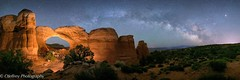 Kissing Camels under the Milky Way (OJeffrey Photography) Tags: panorama lightpainting utah nationalpark ut nikon arch nightscape pano nightsky archesnationalpark d800 naturalarch rockarch brokenarch jeffowens ojeffrey ojeffreyphotography kissingcamelsarch