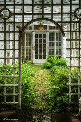 Greenhouse (Jae at Wits End) Tags: park door old abstract color building green abandoned lines architecture pattern decay neglected shapes entrance places structure line doorway greenhouse forgotten opening portal discarded forsaken shape rejected entry decayed