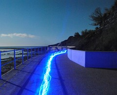 Stream of Blue (mnika4) Tags: ocean blue light sea sky lightpainting colour beach stars stream path midnight lymeregis