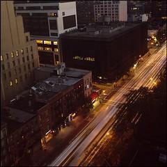 177 / 366 (lufegu) Tags: street city nightphotography car architecture traffic slowshutter lighttrails lighttrail buildingexterior paintlight higangleview
