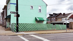 Bloomfield Walk, May 18, 2016 (VII--green corner) (real00) Tags: pittsburgh urban landscape urbanlandscape rustbelt house fence streetscene green cyan neighborhood bloomfield