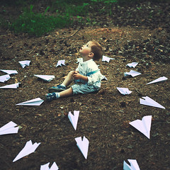 a thousand game (Maria Nenenko) Tags: family trees boy game green art nature forest vintage children idea kid mood child play russia air fineart picture style pic planes concept conceptual boyhood surgut paperplanes conceptphoto marinino marininoart withintheireyes withintheireyesproject
