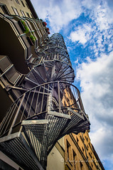 Wendeltreppe (brady tuckett) Tags: road street city light sky cloud sun color building colors sunshine architecture clouds stairs germany landscape spiral landscapes stair cityscape natural steps cities olympus step german 24mm brady f28 tuckett spiralstairs strase hzuiko olympushzuiko24mmf28 bradytuckett