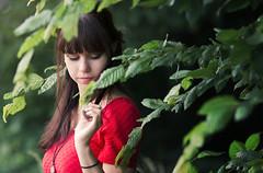 Hidden (Shanaro) Tags: red summer portrait woman brown tree green nature beautiful leaves contrast canon hair eyes dress photoshoot outdoor peaceful calm hidden elegant 135mm 700d