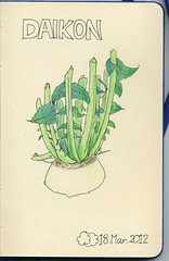 2012_03_18_daikon_01 (blue_belta) Tags: art moleskine japan sketch drawing journal vegetable daikon  coloredpencil