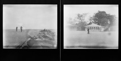 Obscura Day 2012 -The Forgotten Beaches of the Forgotten Borough (solecism) Tags: ocean blackandwhite abandoned film beach polaroid diptych instant ghosts statenisland spectra expired remains bungalows cedargrove evicted blackframe newdorpbeach cedargrovebeach silvershade impossibleproject underwaternewyork obscuraday pz600 obscuraday2012