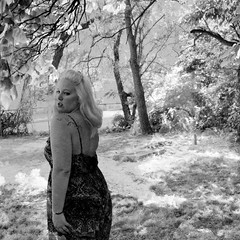 day 053. (H o l l y.) Tags: summer sky blackandwhite bw selfportrait hot birds tattoo clouds hair outside sunny overlay drought blonde 100daysofsummer