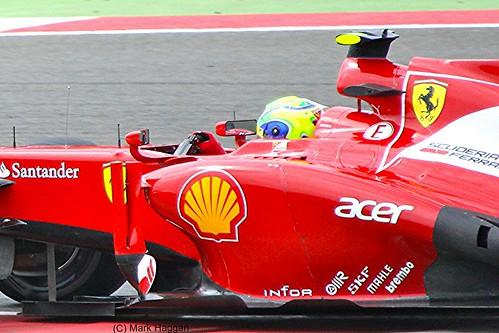 Felipe Massa in his Ferrari F1 car during the 2012 British Grand Prix at Silverstone