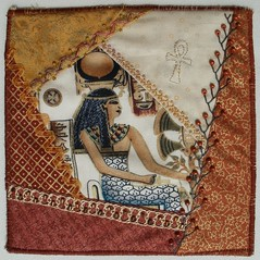 Hathor (fatquarter (Annet)) Tags: embroidery egypt cq ancientegypt hathor frenchknots backstitch featherstitch herringbonestitch bonnetstitch straightstitch fabricbookpage tast2012 chevronsstitch