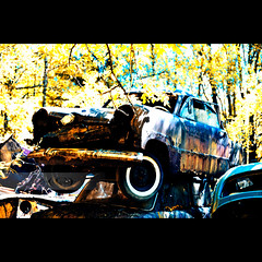 The Car Cemetery (geirkristiansen.net.) Tags: old red white color bus tree classic abandoned nature cemetery graveyard trash forest vintage ir lost moss woods junk rust moody ride sweden decay interior secret exploring wheels picture rusty explore forgotten rusted vegetation bil infrared vehicle nik sverige rotten wreck derelict vestre trespassing urbanexploring ue interestingplaces skrot urbex carcemetery gammel rusten tapt tcksfors forlatt efex forfall steder delagt smashedup glemt bstns d700 naturetakesback fgelvik nikond700 2470mmf28g forlatte bilkirkegrd vstrafgelvik forlattesteder portraitofaclassic