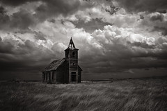 I can barely define, the shape of this moment in time. (Rodney Harvey) Tags: blackandwhite abandoned church rural dark montana decay menacing atmosphere stormy infrared isolation lonely prairie plains desolate ghostown meloncholy turbulent